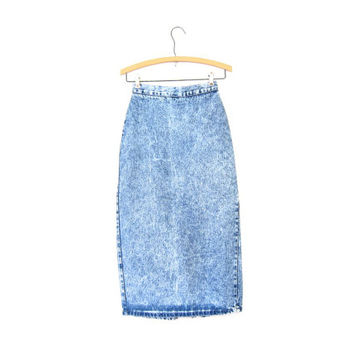 Long 80s High Waist Jean Skirt Acid Wash Denim Midi Pencil Skirt ZIPPER BACK 1980s Hipster Womens Grunge Boho Pencil Skirt Vintage Small Xs