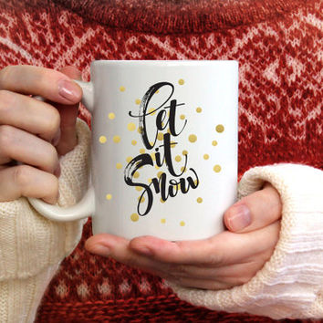 Let is Snow 15 oz Ceramic Custom Mug, Unique Coffee Mugs with Sayings FDA Compliant, Microwave and Dishwasher Safe, Holiday Christmas Decor