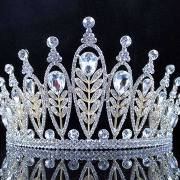 ELEGANT FLORAL CLEAR CRYSTAL RHINESTONE TIARA CROWN BRIDAL PAGEANT T11885 GOLD