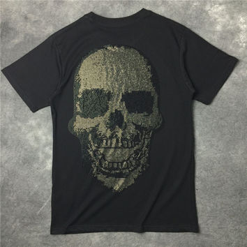 Skull Cotton Diamonds Slim Short Sleeve T-shirts [10159717959]