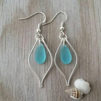 Made in Hawaii, Wire loop Turquoise Bay blue sea glass earrings, 925 sterling silver hook, Beach jewelry gift.