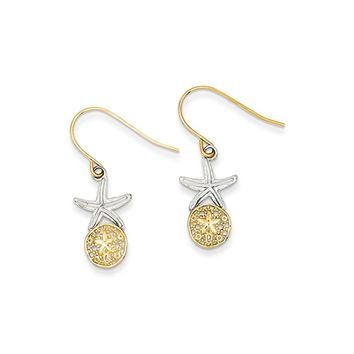 Two Tone Sand Dollar & Starfish Dangle Earrings in 14k Gold