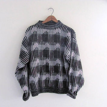 STOREWIDE SALE. 80s sweater. graphic sweater. bill cosby sweater. gray, pink and black. size M