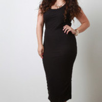 Women's Black Ribbed Knit Dress In Plus Sizes