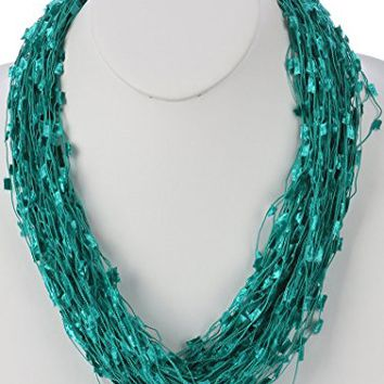 Teal Multi Strand Soft Yarn Magnetic Closure Adjustable Necklace HAN249007ITEL