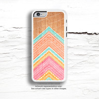 iPhone 6 Case, iPhone 5C Case Wood Print, iPhone 5s Case Chevron, Wood iPhone 4s Case, Geometric iPhone Case, Coral TOUGH iPhone Cover I176