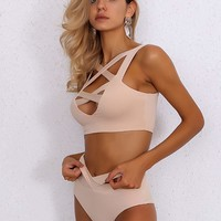 Joyfunear Crisscross Top & High Cut Bikini