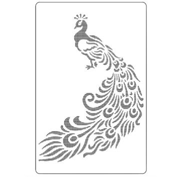 Peacock Totem Flower Shaped Reusable Stencil Airbrush Painting Art Cake Spray Mold DIY Decor Crafts