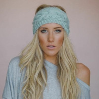 9 Colors Headband Crochet Knit Hairband Winter Flower Women Ear Warmer Headwrap = 1945993540