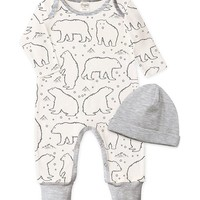 Heather Gray & White Bears Playsuit & Beanie - Infant