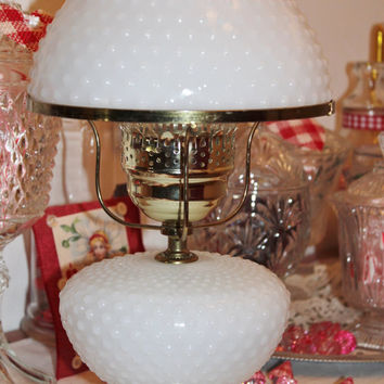 Hobnail White Milk Glass Hurricane Lamp Gone With the Wind