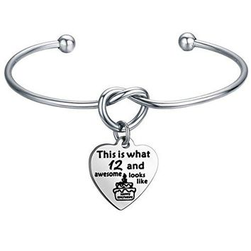 AUGUAU FEELMEM Birthday Gifts for Her Birthday Bracelets,12th Sweet 16 18th 21st,Love Knot with Heart Charm Bangle Bracelet,Perfect Birthday Gift Ideas