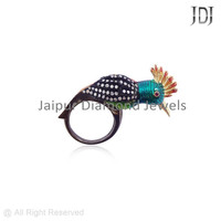 Pave Diamond 92.5 Sterling Silver Designer Ring Party Wear Jewelry