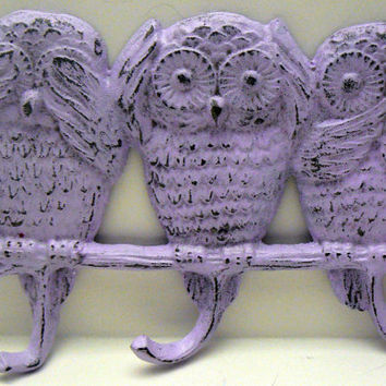 Owl Cast Iron Wall Hook See Hear Say No Evil Trio Owls French Lilac Lavender Shabby Chic Distressed Leash Jewelry Scarf Three Hooks Decor