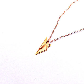 Origami Plane Necklace Gold Filled Necklace Origami Aeroplane  Icon Jewelry Design Logo Necklace Beep Gold Plated Small Pendant Miniature