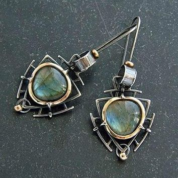 8DESS One-of-a-Kind Peacock Blue-Fire Labradorite Earrings 925 Silver 2.5""