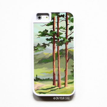 iPhone 5 Case. iPhone 5S Case. Silicone Lined Tough Case - Vintage Paint By Number Landscape