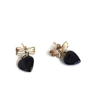 14K Gold and Onyx Heart and Bow Earrings c5f367f8b8
