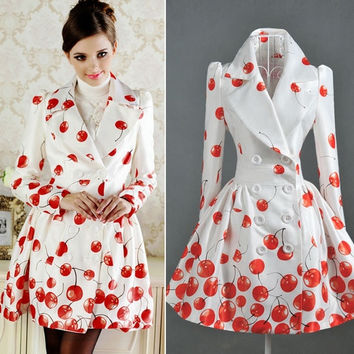 Cute Cherry Pattern Shrug Pleated Dress Hem Double Bleasted Lapel Lady Dust Coat = 1956249988