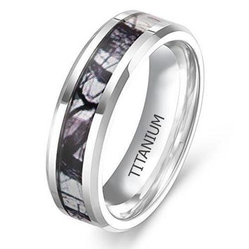 Titanium Ring Wedding Band Camouflage Deer Antler Comfort Fit