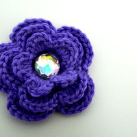 Gemmed Flower Barrette: Great large clip on crocheted 3.5 inch flower with bling (choose flower and rhinestone color and hair hardware part)