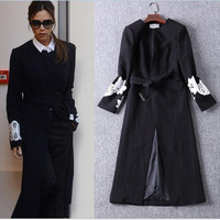 High Quality! Victoria Beckham Same Style Women Trench Coat 2016 Black Long Sleeve O-Neck Embroidered Women Long Trench Coat