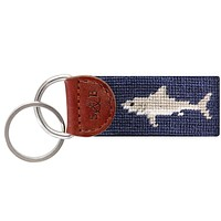 Great White Shark Needlepoint Key Fob by Smathers & Branson