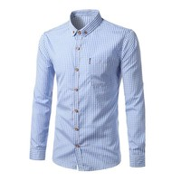 Korean Long Sleeve Men Plaid Shirt [10831835907]