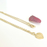 Gold Leaf Necklace - Botanical Jewelry