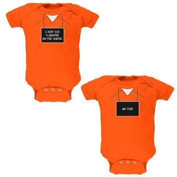 DCCKU3R Halloween Twins 9 Months Inside Prisoner Costume Soft Twins Baby One Piece