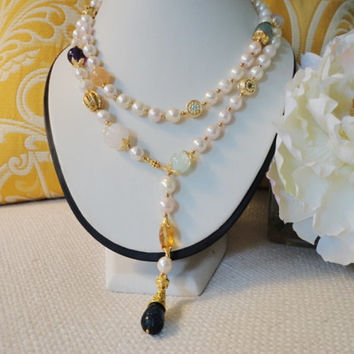 semiprecious necklace. long pearl necklace gold. gemstone pearl necklace. Baroque pearl. Akoya Pearl Necklace. pearls for her. fine jewelry