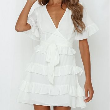 Women's new sexy v-neck ruffled straps solid color dress white