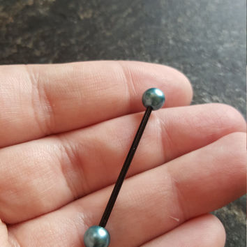 Aquamarine Pearl & Black Ion Plated (1 ONE Barbell) 14G (1.6mm) Industrial Barbell Scaffold Piercing Jewelry