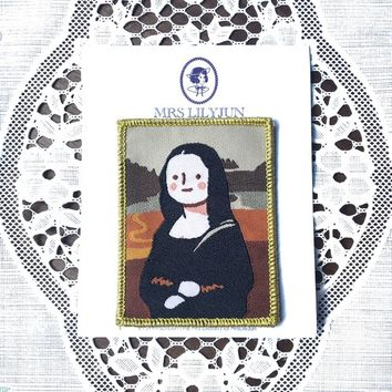 Cute Famous Paintings Monalisa Sew on Patch, Iron on Patch, Fabric Patch, Embroidered Patch