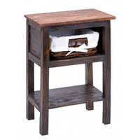 Dark Wood Rattan End Table