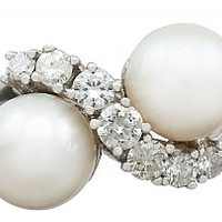 Cultured Pearl and 1.04 ct Diamond, 14 ct White Gold Twist Ring - Vintage Circa 1970