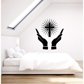 Vinyl Wall Decal Prayer Room Cross Hands Christianity Art Room Stickers Mural (ig5437)