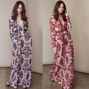 Fashion sexy gauze embroidery flower v neck long dress