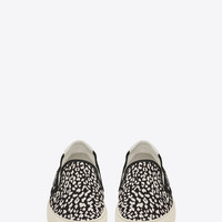 Classic Skate Slip-On Sneaker in Black and White Babycat Printed Canvas