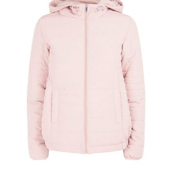 Pale Pink Hooded Puffer Jacket | New Look