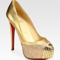 Christian Louboutin - Maggie Glitter-Coated Metallic Snake-Print Leather Platform Pumps - Saks.com