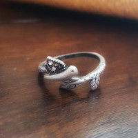 Handmade Dainty Ring Cute small Antique silver Ring Bird and branch clear studs adjustable ring