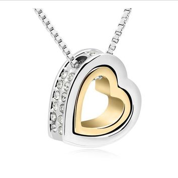 WeiJiang Color Jewellery Silver Color Crystal Heart Love Fashion Necklaces Colar Costume Jewelry for Women B117