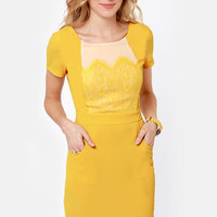 Swell Done Yellow Backless Dress