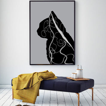 The black cat art,black cat print,printable wall art,modern art print,wall art,modern wall art,printable art,printable poster art,wall decor