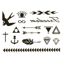Bird Metallic Temporary Tattoos Gold One Size For Women 25704244201