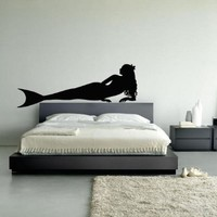 Wall Decal Decor Decals Art Mermaid Girl Fish Tail Ocean Sea Swimming Immersion Bedroom (M1016)