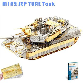 Piececool M1A2 SEP Tank 3D Laser Cut Metal Puzzle DIY 3D Assembly Jigsaws Model Military 3D Nano Puzzle Toys for Children Gifts
