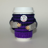 Nerdy and Cute travel mug cozy. Coffee cozy. Knit mug sweater. Tea cup sleeve. Office coffee. Purple blue stripes. Starbucks cup holder