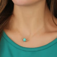 Gift New Arrival Shiny Jewelry Accessory Stylish Simple Design Blue Turquoise Necklace [7298073927]